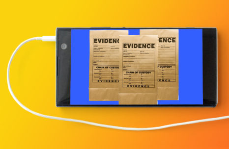 An orange background with the image of a cell phone with earbud cord attached. Three evidence envelopes appear on the screen of the cell phone.